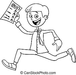 boy with school certificate coloring book
