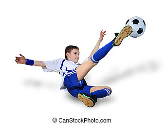Boy with soccer ball, Footballer on the white background....