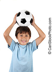 Boy with soccer ball on head