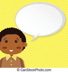 Boy with speech bubble.