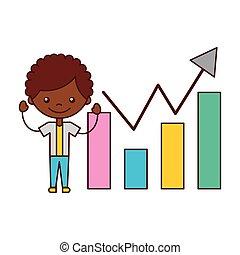 boy with statistics chart bar