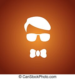 Boy with sun glasses over caramel