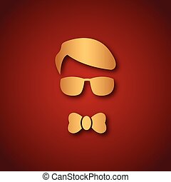 Boy with sun glasses over red
