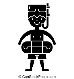 boy with swimming mask in pool  icon, vector illustration, sign on isolated background