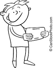 boy with tablet coloring page