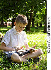 boy with tablet pc