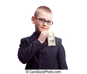 boy with ten dollars - ten year old confident boy wearing a...