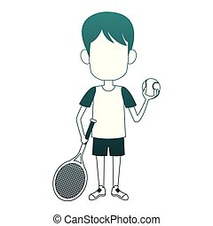 Boy with tennis ball and racket blue lines