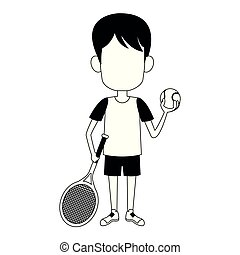 Boy with tennis ball and racket in black and white