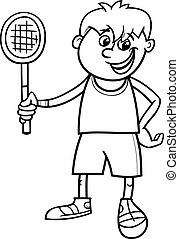 boy with tennis racket coloring page