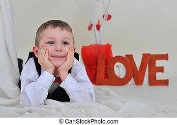 boy with the inscription love.