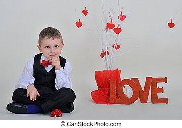 boy with the inscription love