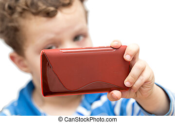 boy with the phone on a white background