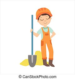 Boy With The Spade And Pile Of Sand, Kid Dressed As Builder On The Construction Site Future Dream Profession Set Illustration