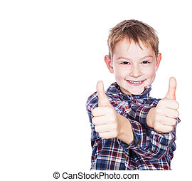 Boy with the thumbs up against a white background
