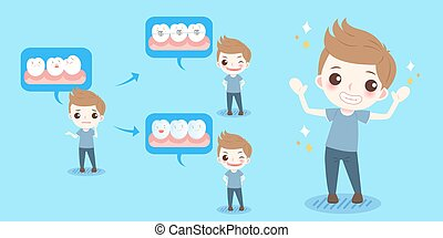 boy with tooth brace concept on the blue background