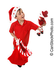 Boy with toy Christmas sack