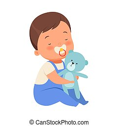 Boy with toy teddy bears is sitting. Vector illustration on a white background.