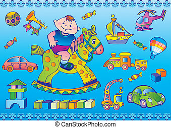 Nice boy with toys. Happy childhood. Vector art-illustration.