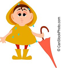 Boy with umbrella, illustration, vector on white background.