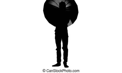 Boy with umbrella in hands. Silhouette. White background -...