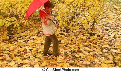 boy with umbrella walks in autumn forest