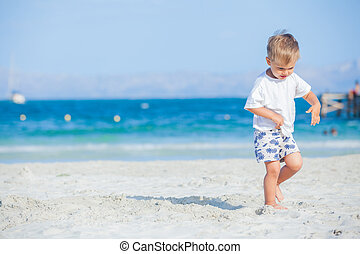 Boy with walking on beach