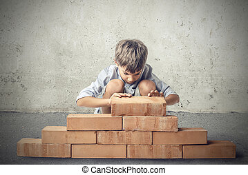 Boy with wall