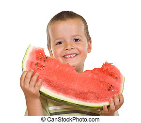 Boy with watermelon slice