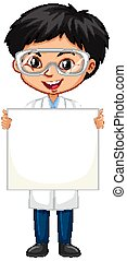 Boy with whiteboard on white background
