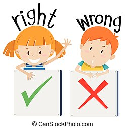 Boy with wrong sign and girl with right sign