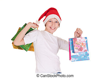 boy with xmas bags