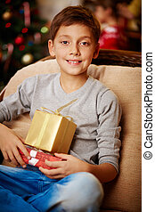Boy with xmas presents