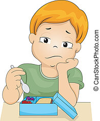 Boy without Appetite - Illustration of a Bored Boy Picking...