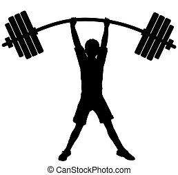 Boy wonder - Editable vector silhouette of a boy lifting...