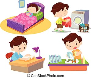 boy working in home many action - Vector of Cute boy cartoon...