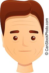 Boy wrinkles icon, cartoon style