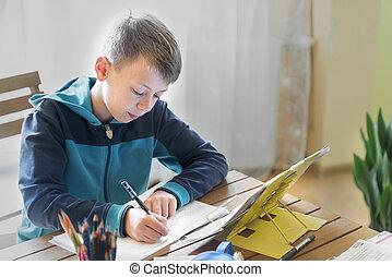 Boy writes homework