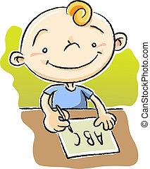 Boy Writing ABC