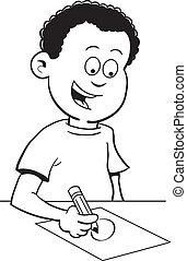 Boy writing - Black and white illustration of a boy writing...