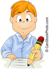 Boy writing with Clipping Path