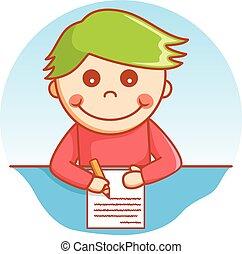 Boy writing doodle