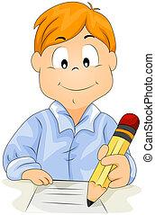 Boy Writing - Boy writing with Clipping Path
