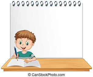 Boy writing in blank book with copyspace