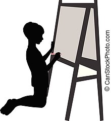 boy writing on blackboard, silhouette vector