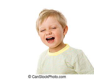 Boy Yawn - Sleepy boy in process of yawn isolated on white