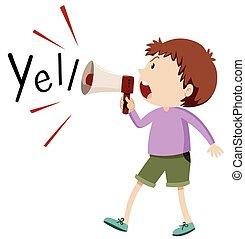 Boy yelling through speaker