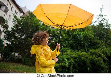boy's, ma, parasol, wrest, wiatr, silny, hands.