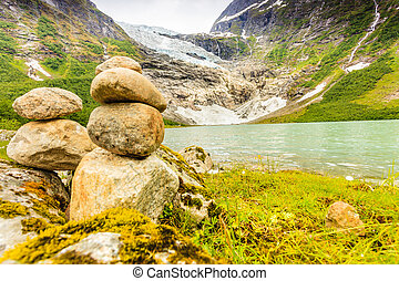 Boyabreen Glacier and lake in Norway