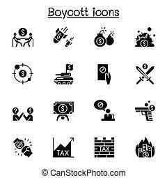 Boycott, business war, trade war icon set vector illustration graphic design
